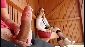 I take my cock out at this bus stop ... Unbelievable how this student will react! I'm shocked!!