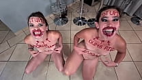 Two stupid whores doing stupid things   self humiliation and humiliating each other