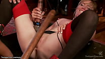 Ebony and blonde licking at bdsm party