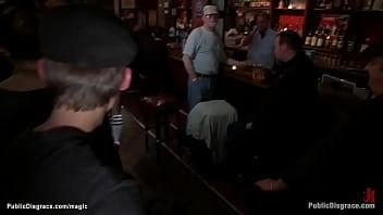 Hot bound blonde fucked in public bar