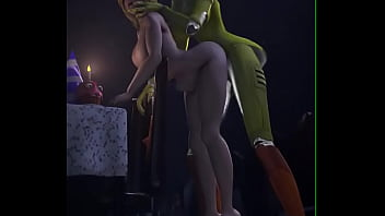 FNAF Female security guard fucked rough by Chica 9 sec