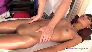Skinny Thai girl gets a full body massage 7 min