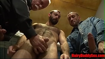 Mature Priest having sex with 2 convicts- HairyDaddySex.com