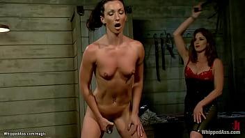 Skinny lesbian slave hard whipped
