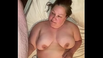 BBW jerks off fat hubby and he cums on her big titties