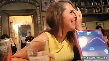 Public orgasm in a pub with the lovense lush | Western guy & Mia Natalia Video