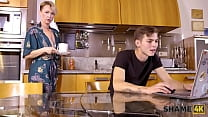 SHAME4K. Mature blonde didnt expect her friends son to be so pervy 10 min