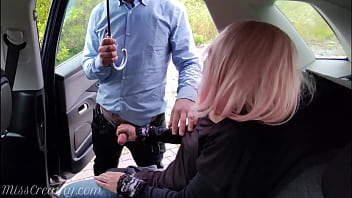 Dogging my wife in public car parking and jerks off an voyeur while it rains - MissCreamy