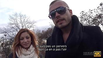 HUNT4K. Chico enojado por dinero en efectivo permite a un cazador follar a su bella novia