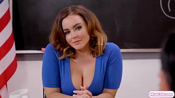 Busty teacher gives asian an oral lesson