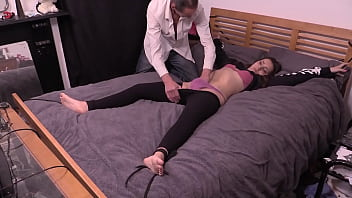 Petite Girl Bound To The Bed, Has Clothes Cut Off and Gets Fucked Hard By Older Guy With Big Cock