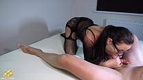 Hot Girl in Lingerie Deepthroat and Jerk Off Dick - Homemade