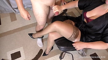 Teen Teacher with big tits handjob on her stockings 8 min