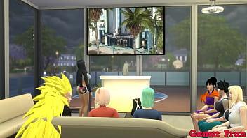 Hinata y sus amigas Cap 5 En una reunión viendo una pelicula y al final las chicas le pide a radi hacer un trio y el las complace a las dos