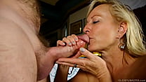 Sexy cougar loves to suck and fuck hard cock for a facial cumshot 10 min