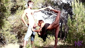 Public Amateur Sex in the WOODS  Outdoor, small flexible girl