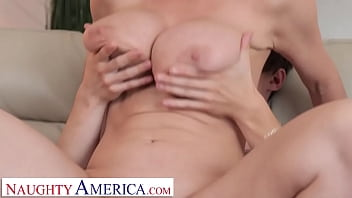 Naughty America - Blonde Milf Dee Williams fucks son's friend on couch