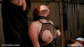 Gimp smashes pussy to bound redhead