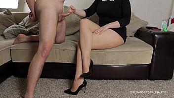 Teen Teacher Femdom handjob on her pantyhose and high heels 11 min