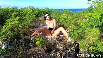 Amateur porn shooting in tropical public area with beauty masturbation and fruits game by PassionBunny