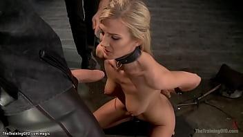 Blond kneeling and sucking huge dick