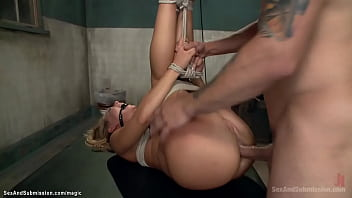 Tight tied blonde rough anal fucked