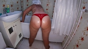 Son caught mom in bathroom and fucked her big ass 10 min