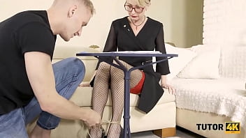 TUTOR4K. Student roughly drills submissive blond teacher on the couch 10 min