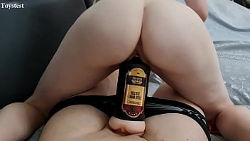 She is so Horny so she can't just Jerking his dick and she starts to Ride his Masturbator!