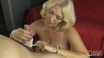 Blonde Cougar Charlee Chase Gives A Handjob With Her Pearl Necklace! 5 min
