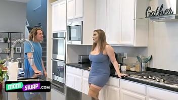 Huge Boobed Milfs Kiki Daire And Natasha Nice Pleasure Their Stepsons In A Sensual Group Sex