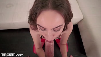 Throated - Cute Petite Brunette Gets Face Fucked