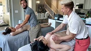 Stepsons Get After Massage Treat From Their Moms - April Storm, Nickey Huntsman