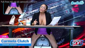 News Anchor rides Sybian naked on air 10 min