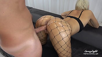 College Teen Gets Crazy from ANAL and Massive Creampie in Fishnet / Dripping cum / Fuck after cum / CarryLight  Amateur Couple
