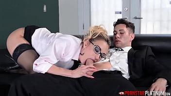 PORNSTARPLATINUM Cougar With Glasses Claudia Valentine Fucks