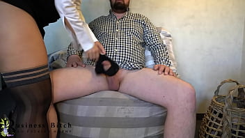 I caught my boss sniffing my panties ... so he has to give me a creampie as bonus, business-bitch