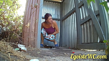 NEW! Beautiful pissing in a rural toilet in the fresh air. 66 sec