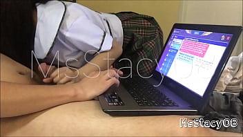 Ang paglalaro ng magkaklase ng Online Game ay nauwi sa mainit na pagtatalik 13 min