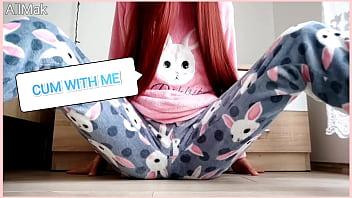 asian skinny teen masturbate in pajamas | shaved   pussy cumming 5 min