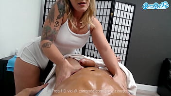 Big Tit Blonde masseuse gives dude happy ending
