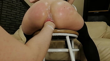 Anal Whore Fisted by Huge Fist Sitting on Chair with great view