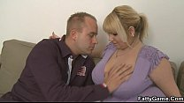 He gets picked up by hot blonde plumper