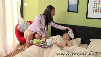 MOM Horny Brunette MILF gets creamed