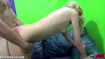 Cute blonde stretches her long legs for Porno Dan! 10 min