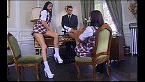Schoolgirls Karen Lancaume & Coralie Trinh Thi FFM 3some in Office