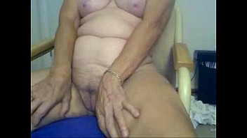 Horny granny fingering in front of cam. Amateur older