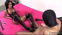 Two brunette sluts dominates their man sex slave