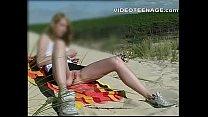 blonde teen upskirt at beach