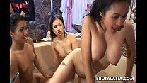 Asian sluts Mika Tan and Lyla Lei boned rough